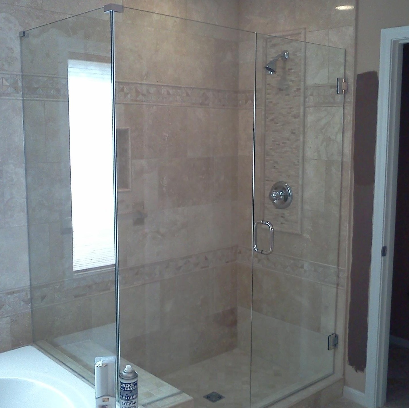 Custom glass shower enclosure